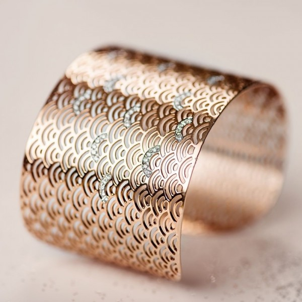 Brazalete Wave con diamantes