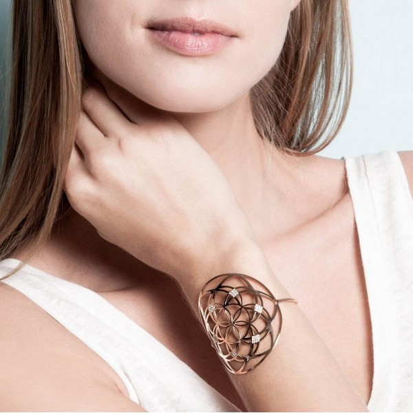 Flower of life diamonds cuff
